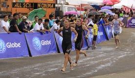 Chemin de passage de marathon de triathlon d'Ironman Image stock
