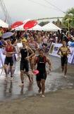 Chemin de passage de marathon de triathlon d'Ironman Photographie stock libre de droits