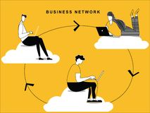 Chemin de réseau d'affaires coulant autour du nuage illustration de vecteur