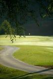 Chemin de terrain de golf et de chariot photographie stock libre de droits