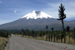 Chemin de terre au volcan de Cotopaxi Photographie stock libre de droits