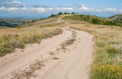Chemin de terre au Wyoming image libre de droits