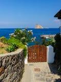 Chemin de touriste d'île de Panarea Photos libres de droits