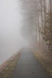 Chemin de vélo en brouillard Photographie stock libre de droits