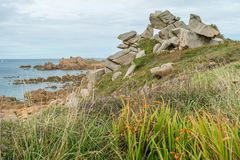 Seaside close to Primel. Chemin des douaniers in Primel, Brittany, France Royalty Free Stock Image