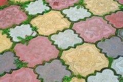 Chemin des tuiles colorées de l'herbe grandissante dans les lacunes en tant que de retour Photographie stock