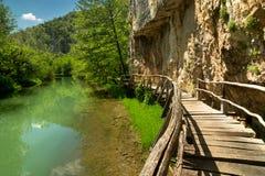 Chemin en bois le long de la rivière Photos stock
