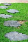 Chemin en pierre de jardin avec l'herbe verte. Photo libre de droits
