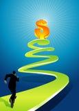 Chemin en spirale à la grandeur financière Photographie stock