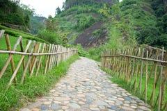 Chemin en stationnement avec la frontière de sécurité en bambou Images stock