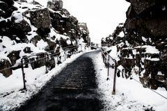 Chemin entre les plats continentaux en Islande photo libre de droits