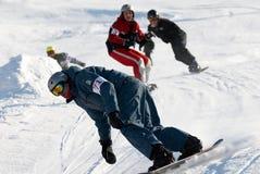 Chemin extrême de snowboarding Images libres de droits