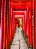 Chemin impressionnant couvert par les portes rouges au tombeau de Nezu Jinja à Tokyo - à TOKYO, JAPON - 17 juin 2018 Images stock
