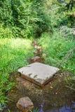 Chemin inondé pendant l'été Le concept des obstacles quotidiens Image libre de droits