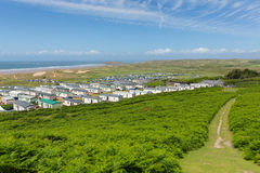 Chemin Rhossili de côte du Pays de Galles en bas de la vue BRITANNIQUE de péninsule de Gower à Hillend Images stock