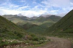 Chemin sur la côte verte en montagnes Photographie stock libre de droits