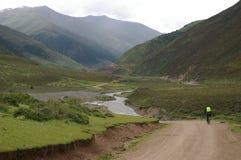 Chemin sur la côte verte en montagnes Photo stock