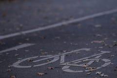 chemin vide de cycle dans la lumière de début de la matinée avec des feuilles d'automne - concept de permutation urbain photos libres de droits