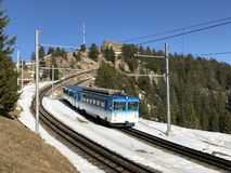 Chemins de fer de montagne de Rigi ou premier chemin de fer de roue dentée de Rigi Bergbahnen en Europe ou mourir erste Bergbahn  image stock