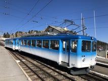 Chemins de fer de montagne de Rigi ou premier chemin de fer de roue dentée de Rigi Bergbahnen en Europe ou mourir erste Bergbahn  photos stock