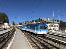 Chemins de fer de montagne de Rigi ou premier chemin de fer de roue dentée de Rigi Bergbahnen en Europe ou mourir erste Bergbahn  photographie stock libre de droits