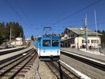 Chemins de fer de montagne de Rigi ou premier chemin de fer de roue dentée de Rigi Bergbahnen en Europe ou mourir erste Bergbahn  images libres de droits