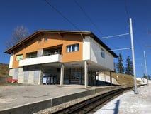 Chemins de fer de montagne de Rigi ou premier chemin de fer de roue dentée de Rigi Bergbahnen en Europe ou mourir erste Bergbahn  photo stock