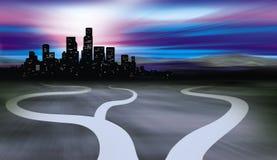 Chemins menant à la ville et au désert Photographie stock libre de droits