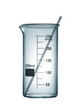 Chemiscal beaker with a glass rod, isolated on white background Royalty Free Stock Photography
