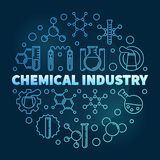 Chemisch de Industrie vector blauw concept om lijnillustratie royalty-vrije illustratie