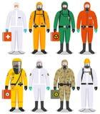 Chemisch de industrieconcept Gedetailleerde illustratie verschillende arbeiders in verschillen beschermende kostuums op witte ach royalty-vrije illustratie