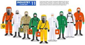 Chemisch de industrieconcept Groeps verschillende arbeiders die zich in verschillen beschermende kostuums verenigen op witte acht stock illustratie