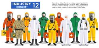 Chemisch de industrieconcept Groeps verschillende arbeiders in verschillen beschermende kostuums die zich in rij op witte achterg royalty-vrije illustratie