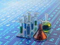 Chemisch experiment, wetenschapsonderzoek en chemieconcept royalty-vrije stock afbeeldingen