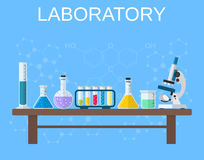 Chemisch glaswerk, laboratorium stock illustratie