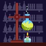Chemisch laboratorium in vlakke stijl Stock Foto
