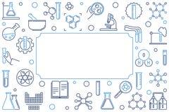 Chemisch overzichts horizontaal banner of kader Vector illustratie royalty-vrije illustratie