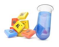 Chemische Elemente und Reagenzglas Stockfotografie