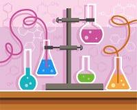 Chemische Erfahrung, flache Farbillustration mit Formeln Stockfoto