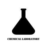 Chemische Flasche des Vektorlogos Labor Lizenzfreie Stockfotos