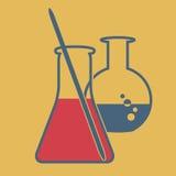 Chemische flessen, vector, vlak pictogram stock illustratie