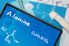 Chemische Formel des Alanins Stockfotos