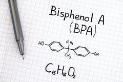 Chemische Formel von Bisphenol A BPA mit Stift stockfotos