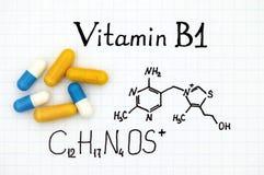 Chemische formule van Vitamine B1 en pillen royalty-vrije stock afbeeldingen