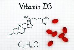 Chemische formule van Vitamine D3 en pillen stock afbeelding