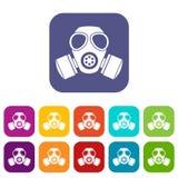 Chemische geplaatste gasmaskerpictogrammen Stock Afbeeldingen