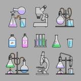 Chemische geplaatste glaswerkpictogrammen Royalty-vrije Stock Afbeelding