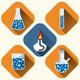 Chemische geplaatste pictogrammen vector illustratie