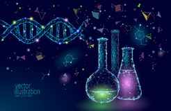 Chemische Glasflaschen der niedrigen Polywissenschaft Forschungs-Zukunfttechnologie des magischen Dreiecks der Ausrüstung polygon stock abbildung
