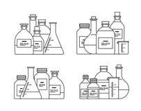 Chemische Glaswarenikone Stockbilder
